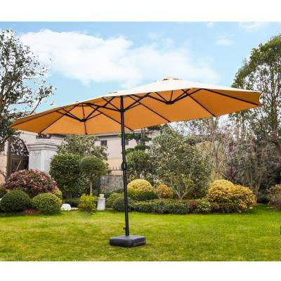 9 x 15 ft. Steel Market Patio Umbrella in Khaki