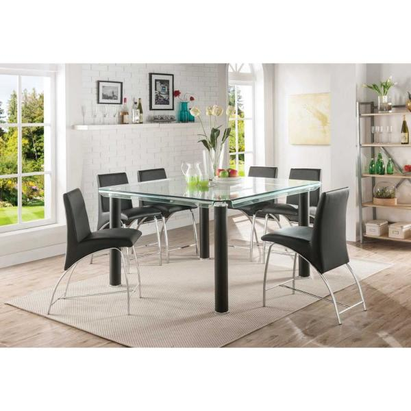 Acme Furniture Gordias Clear Glass And Black Counter Height Table