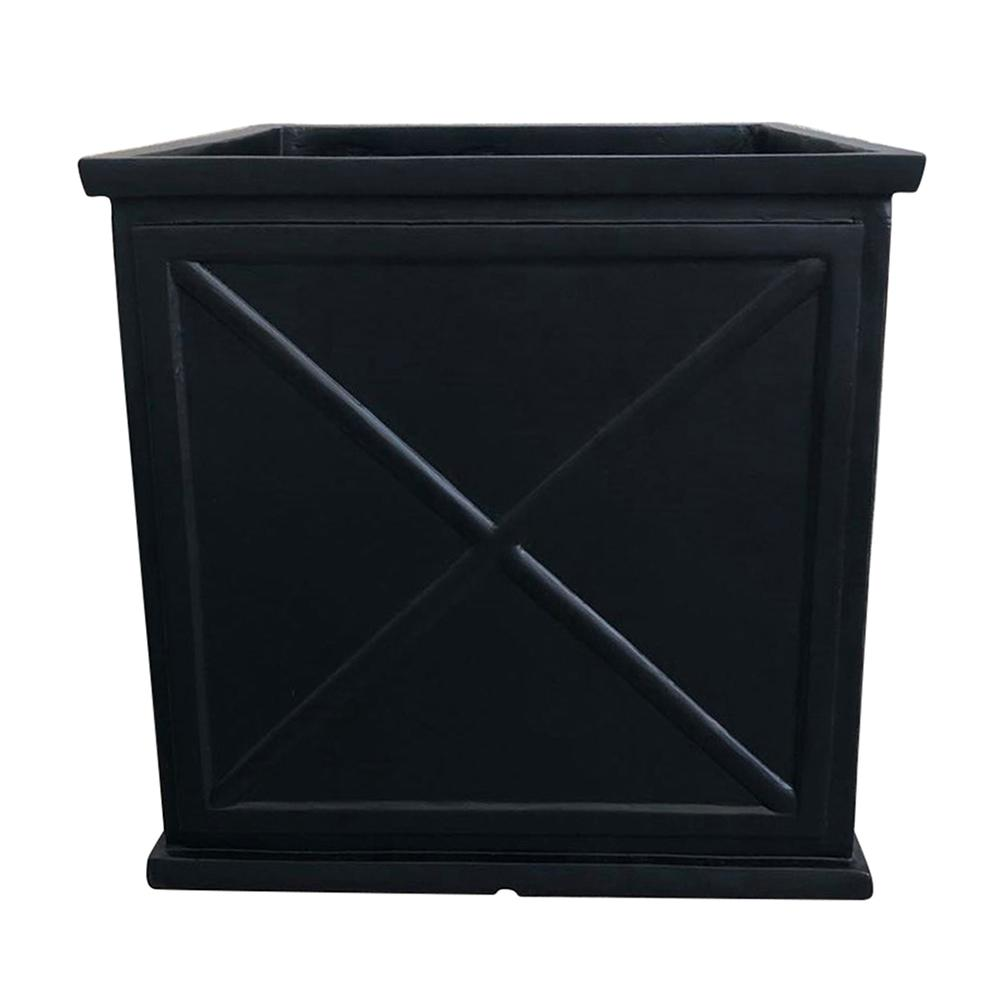 Southern Patio Parkway Cube 12 in. Dia. Black Resin Planter