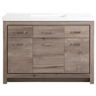 Prestbury 49 in. W x 21 in. D x 36 in. H Bath Vanity in White Washed Oak with Cultured Marble Vanity Top in White