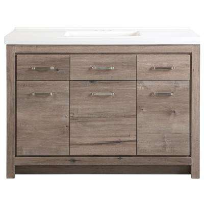 Prestbury 48 in. W x 21 in. D x 36 in. H Vanity in White Washed Oak with Cultured Marble Vanity Top in White