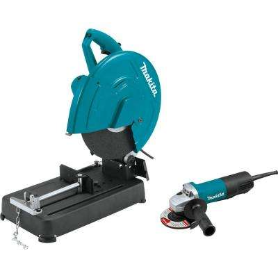 15 Amp 14 in. Cut-Off Saw and 4-1/2 in. Paddle Switch Angle Grinder