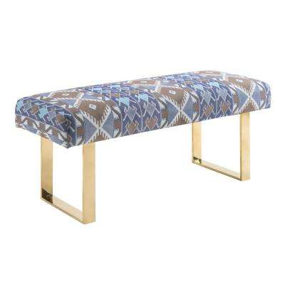 Mohegan Multi, Gold and Linen Bench