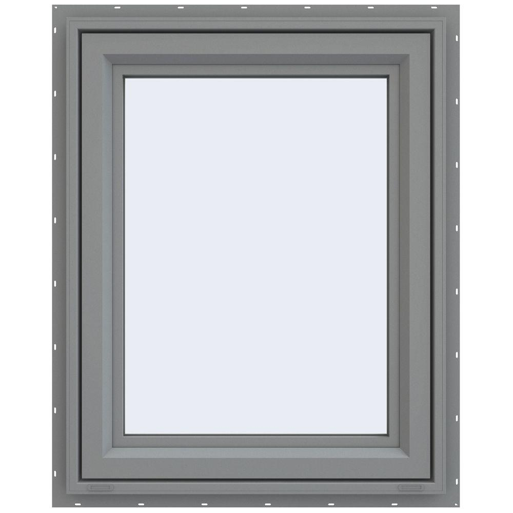 JELD-WEN 29.5 in. x 35.5 in. V-4500 Series Left-Hand Casement Vinyl Window - Gray