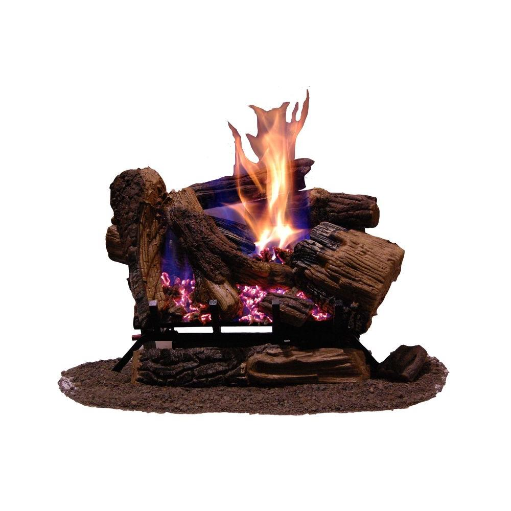 Emberglow - 24 in. Appalachian Oak Finish Vented Gas Log Set with Remote Control Natural Gas - Emits up to 40