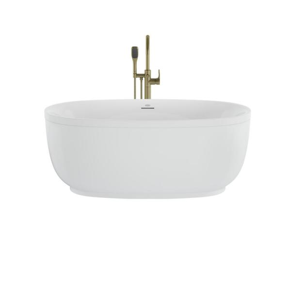 Jacuzzi Cosi 59 In X 32 In Acrylic Flatbottom Freestanding Soaking Bathtub In White With Brushed Bronze Tub Filler Csz5932bcxxxxg The Home Depot