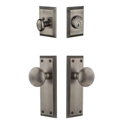 Fifth Avenue Plate 2-3/4 in. Backset Antique Pewter Fifth Avenue Door Knob with Single Cylinder Deadbolt