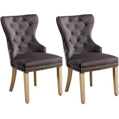 GRAY Tufted Upholstered Velvet Dining Chairs (Set of 2)