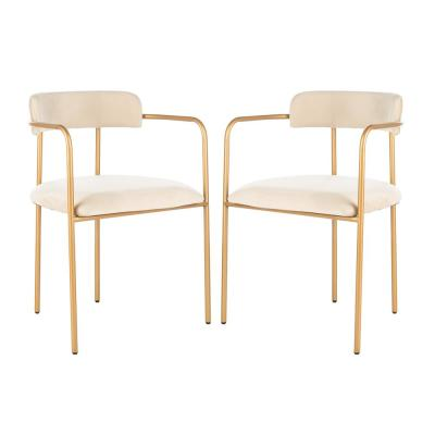 Camille Beige/Gold Accent Chair (Set of 2)