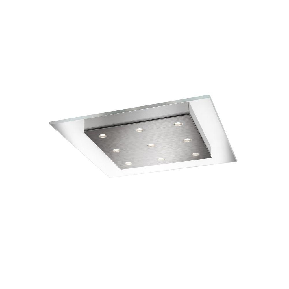 Philips matrix 9 light brushed nickel led ceiling fixture for How to install a flush mount ceiling light youtube