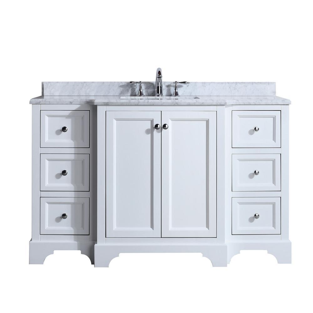 Jenny 55 in. Single Bath Vanity in White with Marble Vanity Top in Carrara White with White basin