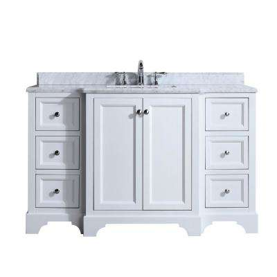 Jenny 55 in. Single Bath Vanity in White with Marble Vanity Top in Carrara White with White basin