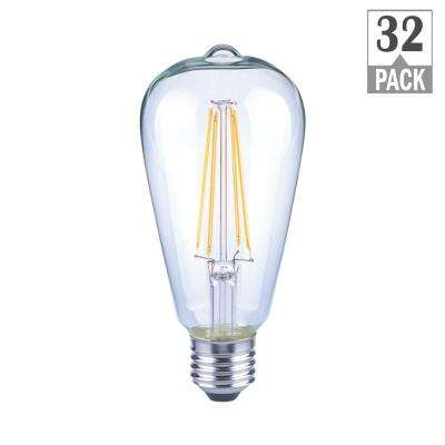 75-Watt Equivalent ST19 Antique Edison Dimmable Clear Glass Filament Vintage Style LED Light Bulb Soft White (32-Pack)