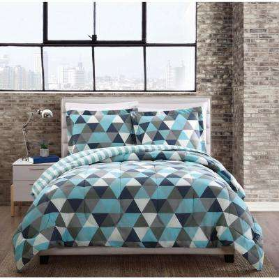 Madison Triangles 3-Piece Multiple Full and Queen Comforter with 2 Shams
