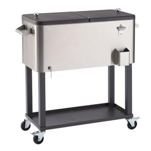 100 Qt./25 Gal. Stainless Steel Wheeled Cooler with Shelf
