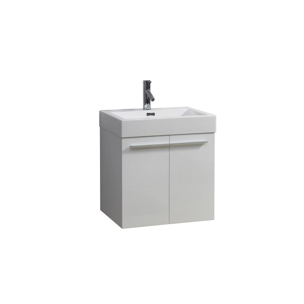 Virtu USA Midori 24 in. W Vanity With Poly-Marble Vanity Top With White Square Basin
