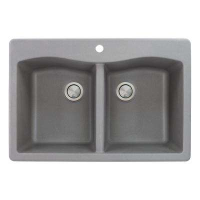 Aversa Drop-in Granite 33 in. 1-Hole Equal Double Bowl Kitchen Sink in Grey