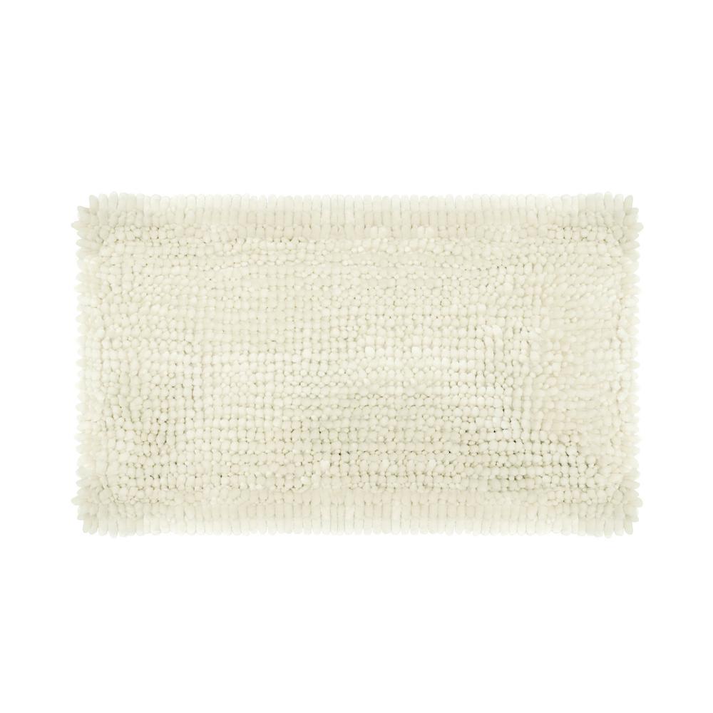Laura Ashley Butter Chenille 17 In X 24 In Bath Mat In White