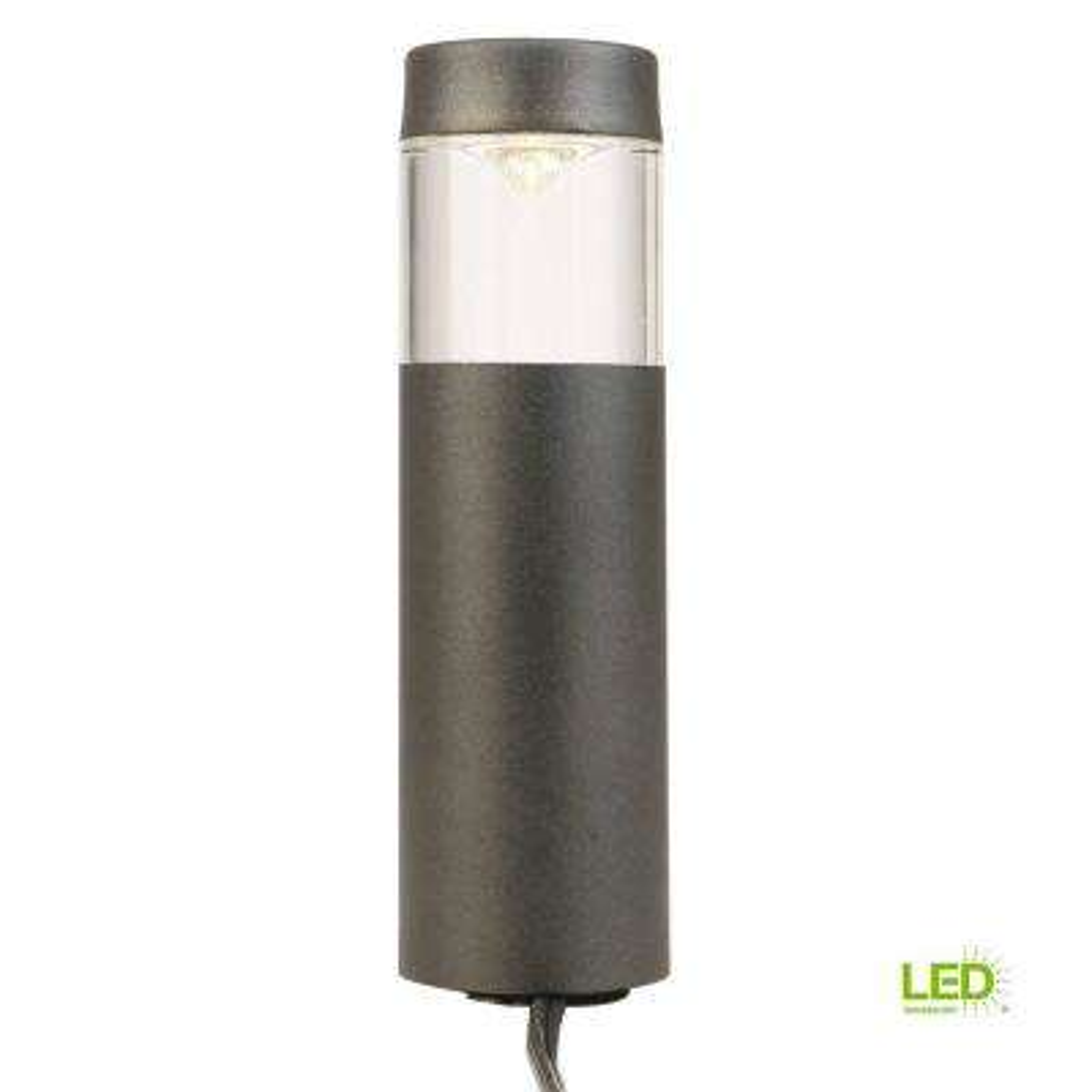 Low-Voltage 10-Watt Equivalent Black Outdoor Integrated LED Round Bollard Landscape Path Light