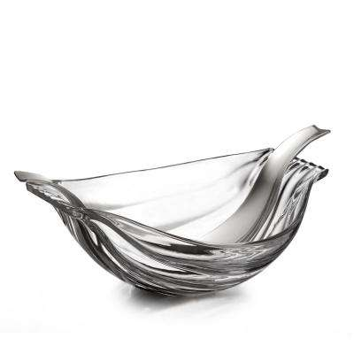 Drift 13.5 in. Clear Glass Salad Bowl with Servers
