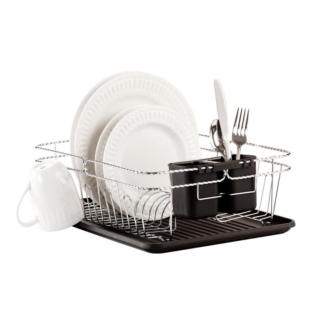Twisted Chrome 3-Piece Black Dish Rack