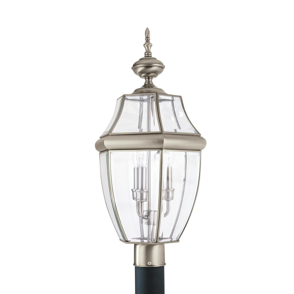 Lancaster 3-Light Outdoor Antique Brushed Nickel Post Light with Dimmable Candelabra LED Bulb