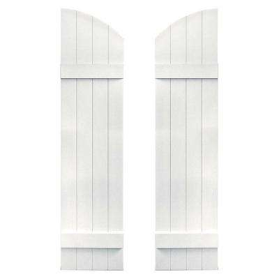 14 in. x 53 in. Board-N-Batten Shutters Pair, 4 Boards Joined with Arch Top #117 Bright White