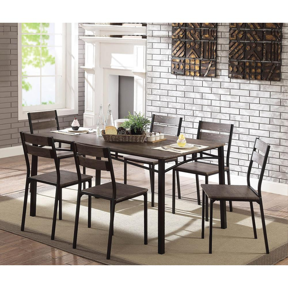 Wesport 7-Piece Transitional Style Antique Brown and Black Dining Table Set