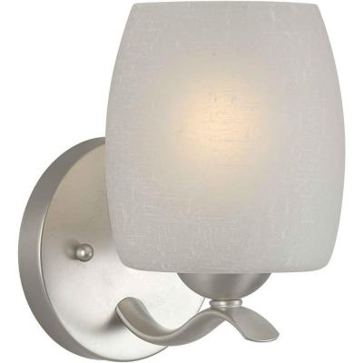 Andrea 1-Light Brushed Nickel Bath Vanity Light with White Linen Glass