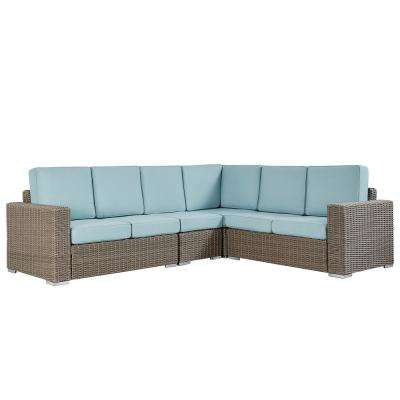 Camari Mocha Rolled Arm Wicker Outdoor Sectional with Blue Cushion