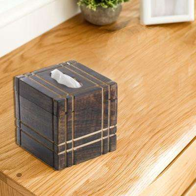 Brown Handmade Mango Wood Tissue Holder Box with Straight Line Carving