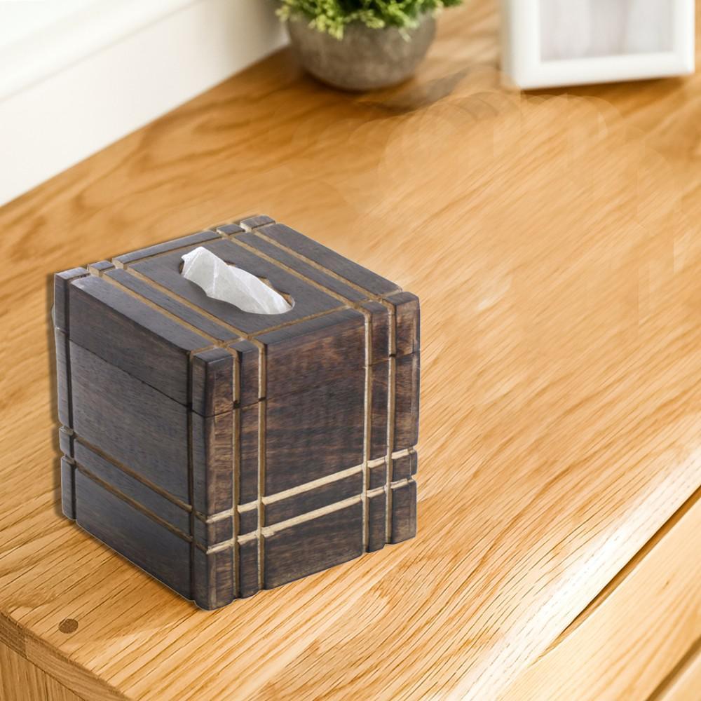 Benzara Brown Handmade Mango Wood Tissue Holder Box with Straight Line