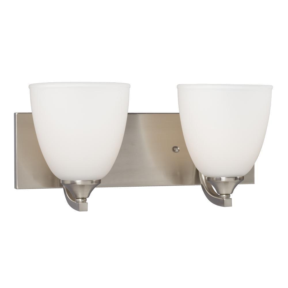Brook 2-Light Brushed Nickel Bath Vanity Light