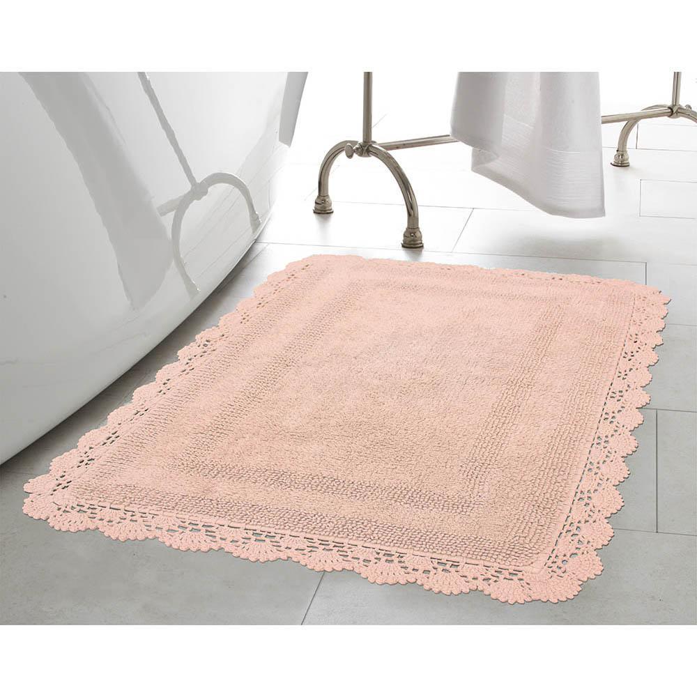 Crochet 100% Cotton 24 in. x 40 in. Bath Rug in Blush