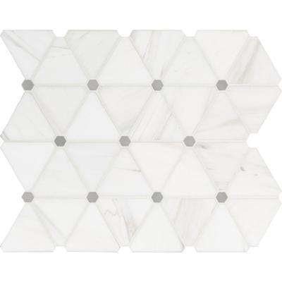Bianco Dolomite Pinwheel 13.9 in. x 12 in. x 10mm Polished Marble Mesh-Mounted Mosaic Tile (11.6 sq. ft. / case)