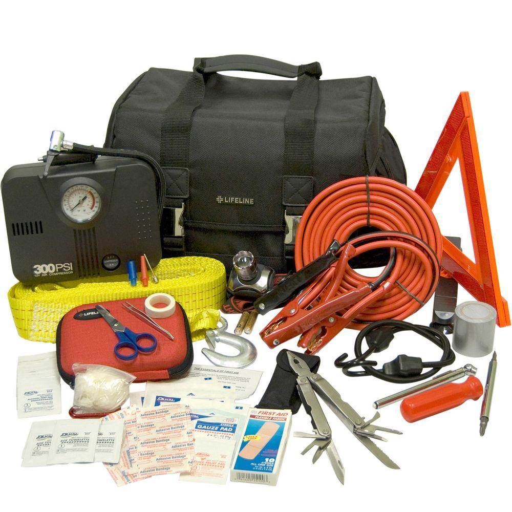 Lifeline 66-Piece Executive Emergency Road Safety and First Aid Kit