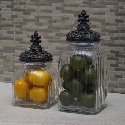 Large: 15 in; Medium: 13 in; Small: 11 in. Old World Iron Black and Clear Glass Canisters