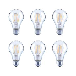60-Watt Equivalent A19 Clear Glass Vintage Decorative Edison Filament Dimmable LED Light Bulb Daylight (6-Pack)