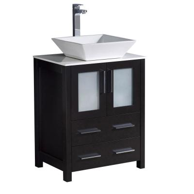 Torino 24 in. Bath Vanity in Espresso with Glass Stone Vanity Top in White with White Basin