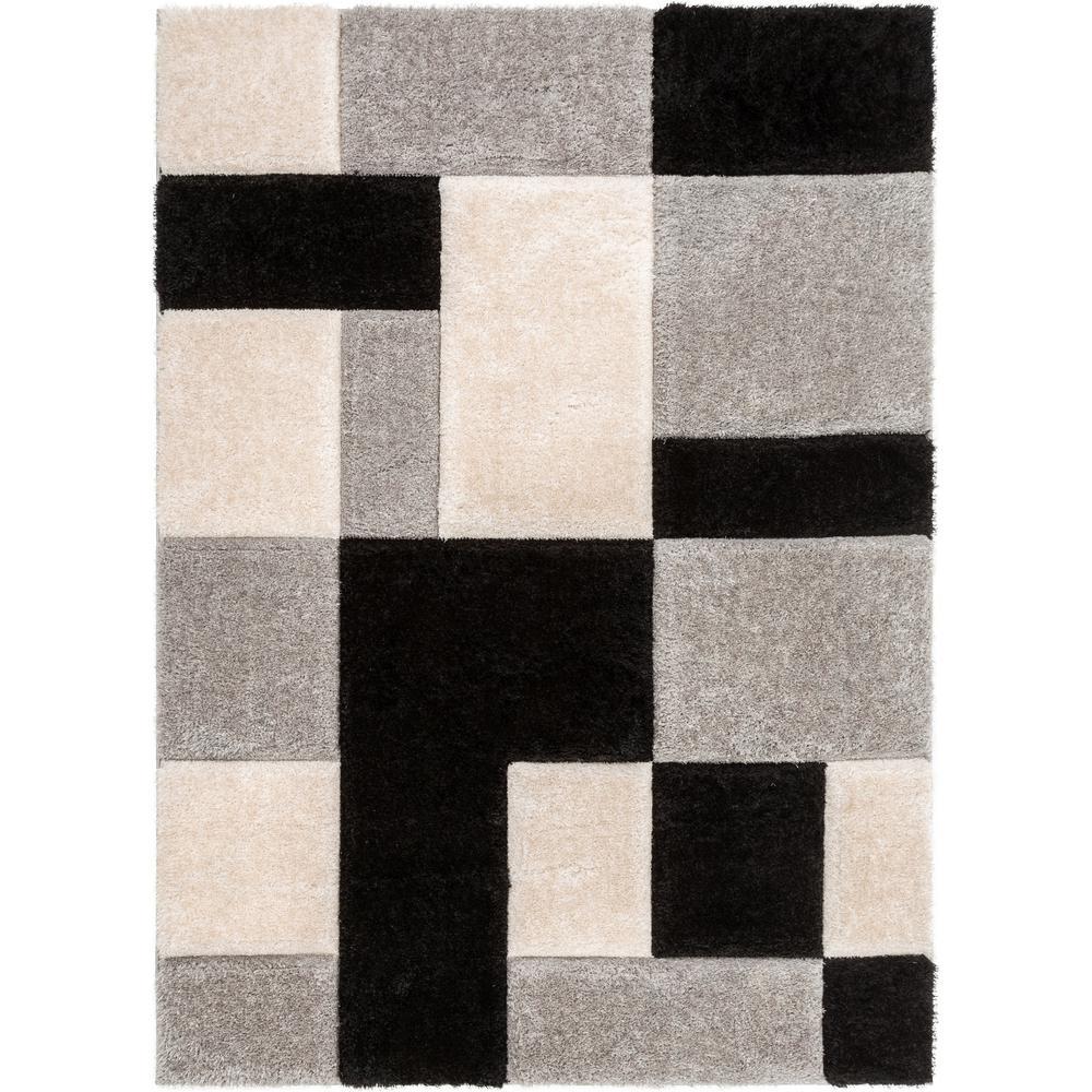 c52ddeb57d309 Well Woven San Francisco Escondido Black Modern Geometric Squares 5 ft. 3  in. x