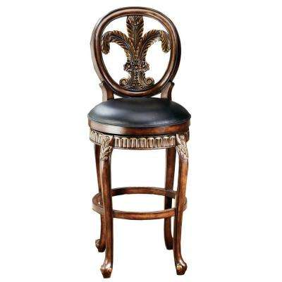 Fleur de Lis 31 in. Warm Cherry Swivel Cushioned Bar Stool