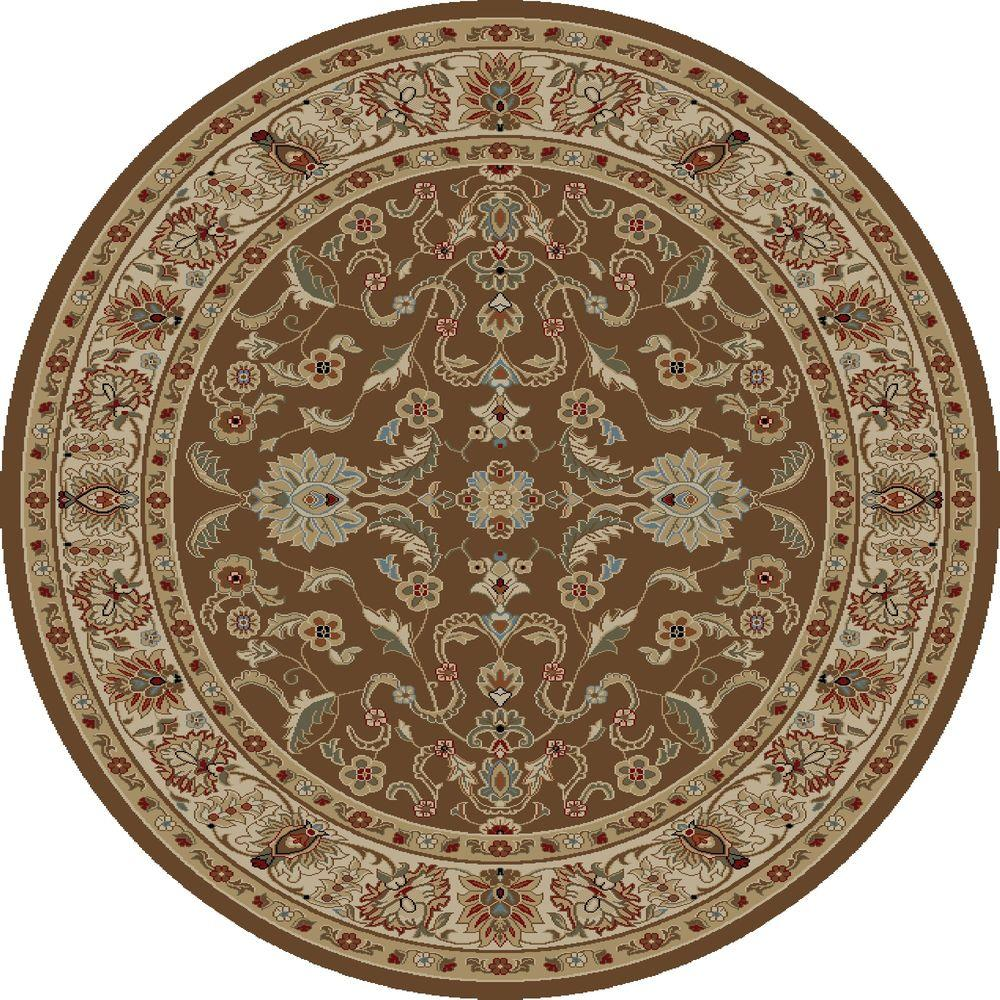 Concord Global Trading Ankara Agra Brown 8 Ft Round Area