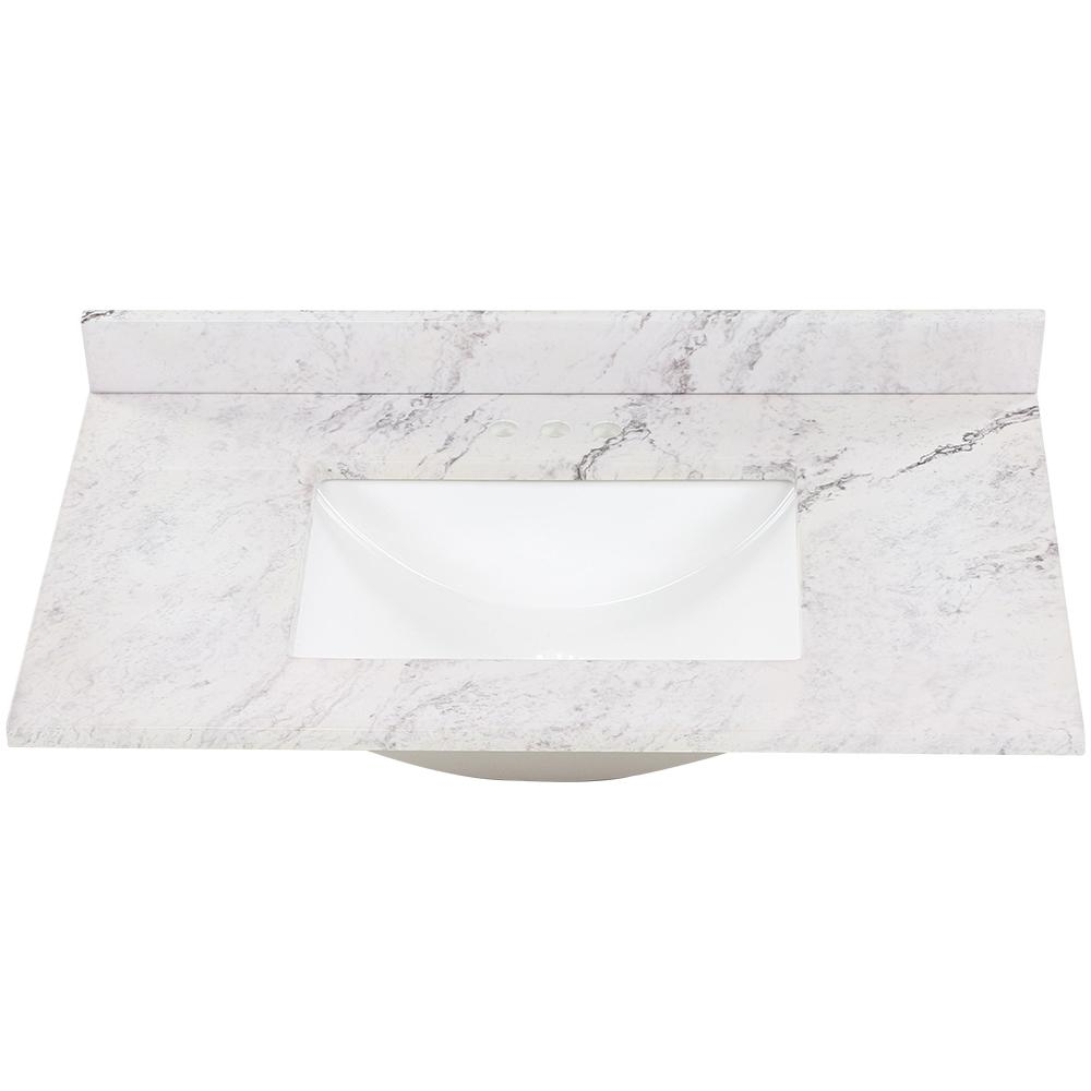 37 in. W x 22 in. D Stone Effect Vanity Top in Lunar with White Sink
