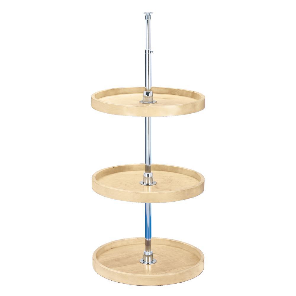 Rev-A-Shelf 35 in. H x 18 in. W x 18 in. D Wood 3-Shelf Full Circle Lazy Susan Set