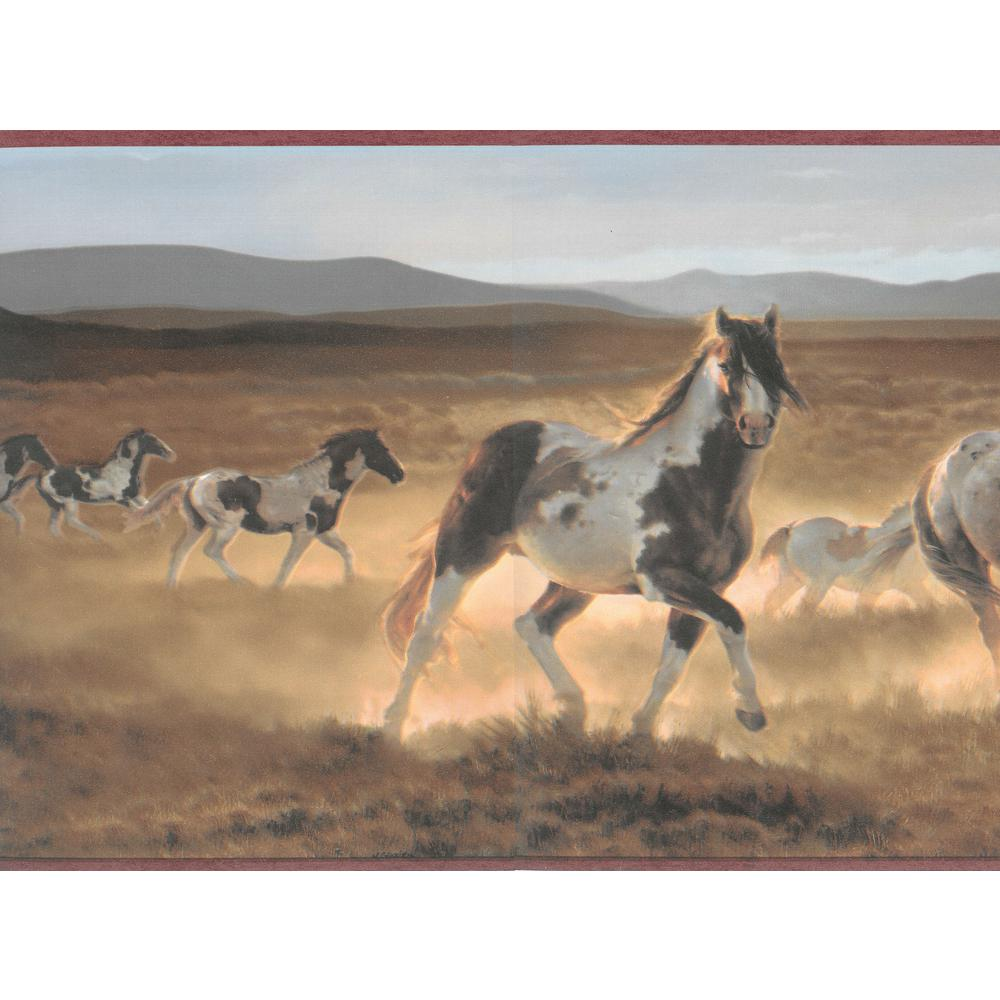 Falkirk Brin Galloping Horses Brown, Blue, Beige Wallpaper Border
