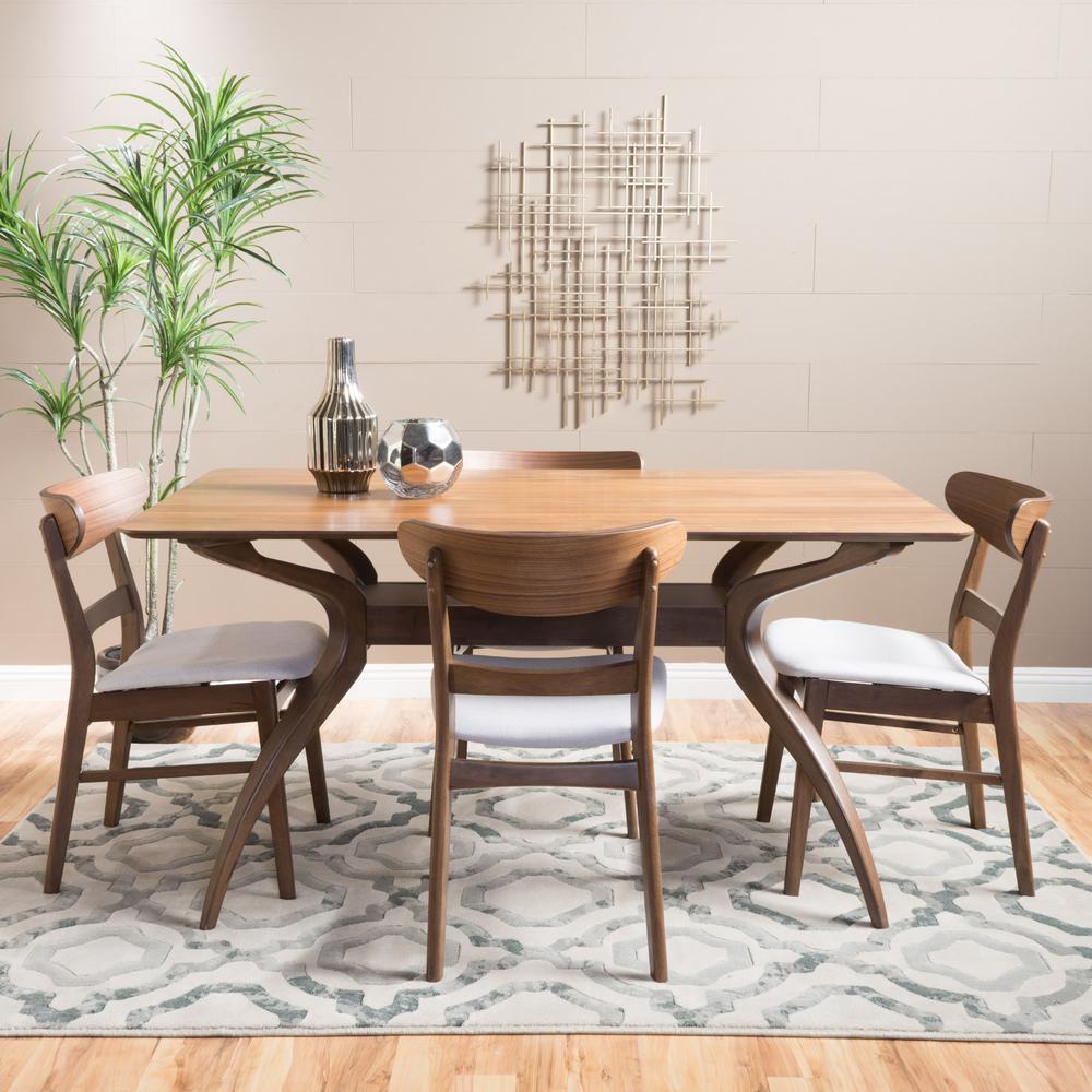 Idalia 5-Piece Light Beige and Natural Walnut Dining Set