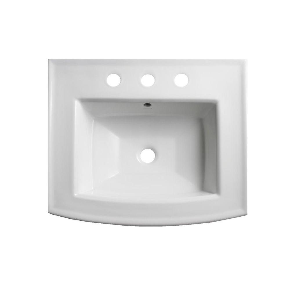 KOHLER Archer 7.875 in. Vitreous China Pedestal Sink Basin in White ...