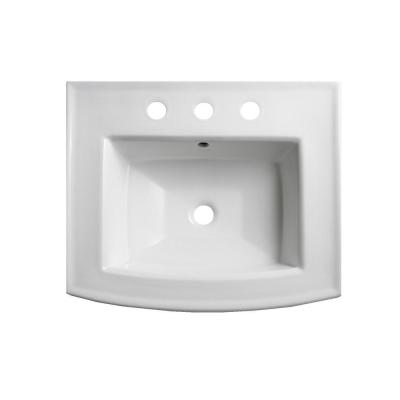 Archer 7.875 in. Vitreous China Pedestal Sink Basin in White with Overflow Drain