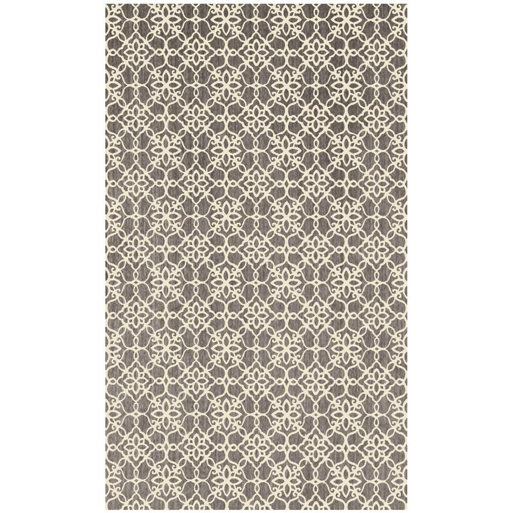 Ruggable Washable Floral Tiles Rich Grey 3 Ft. X 5 Ft. Stain Resistant Area