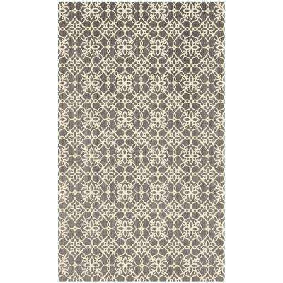 Washable Floral Tiles Rich Grey 3 ft. x 5 ft. Stain Resistant Area Rug
